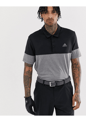 Adidas Golf Ultimate 365 heather block polo in black