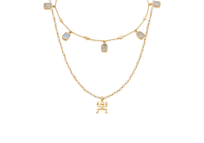 Gold Walking On The Moon Necklace Set