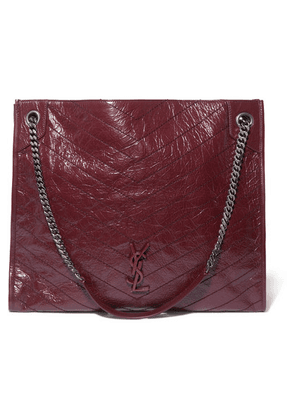 SAINT LAURENT - Niki Large Quilted Crinkled Glossed-leather Tote - Burgundy