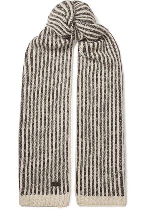 SAINT LAURENT - Striped Knitted Scarf - Ivory