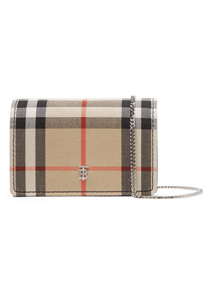 Burberry - Checked Canvas And Leather Shoulder Bag - Brown