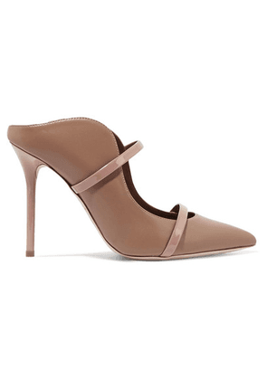 Malone Souliers - Maureen 100 Patent-trimmed Leather Mules - Neutral