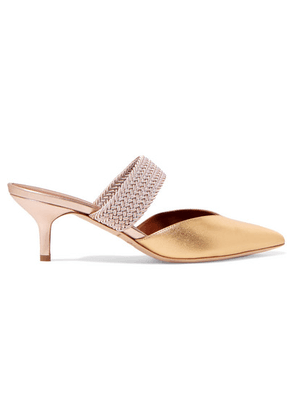 Malone Souliers - Maisie 45 Cord-trimmed Metallic Leather Mules - Gold
