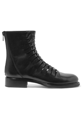 Ann Demeulemeester - Cutout Leather Ankle Boots - Black