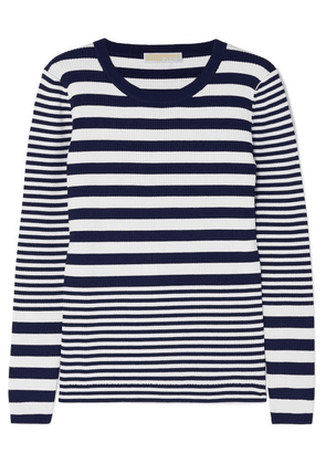 MICHAEL Michael Kors - Striped Ribbed Stretch-knit Sweater - Navy