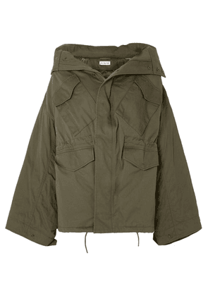 Balenciaga - Swing Oversized Hooded Cotton-twill Jacket - Army green