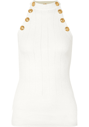 Balmain - Button-embellished Ribbed Pointelle-knit Wool-blend Tank - White