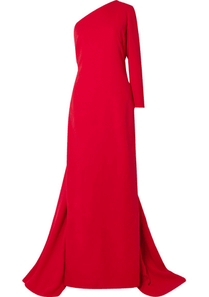 Carolina Herrera - One-shoulder Draped Silk-crepe Gown - Red