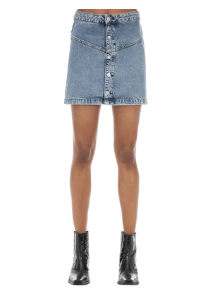 Button-up Cotton Denim Mini Skirt