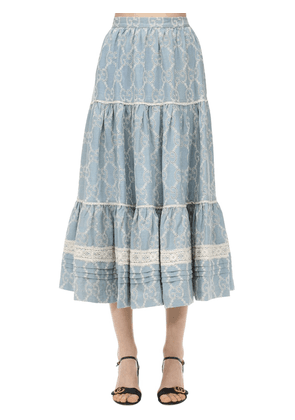 Gg Cotton Chambray Lace Maxi Skirt