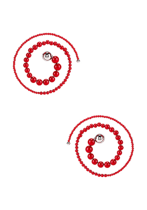 Y/Project Spiral Bead Earrings in Red - Red. Size all.