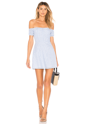 by the way. Leila Off Shoulder Dress in Blue. Size XS.