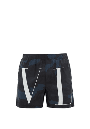 Valentino - Camouflage And Vltn Print Swim Shorts - Mens - Blue