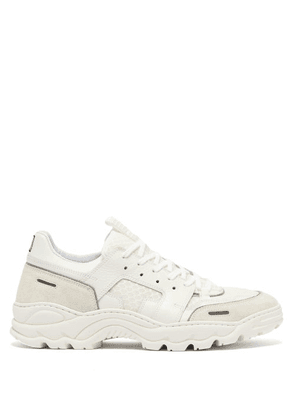 Ami - Running Lucky 9 Suede And Mesh Trainers - Mens - White