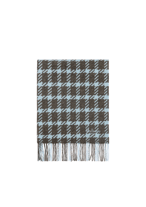 Mulberry Large Houndstooth Shawl in Pale Slate Lambswool