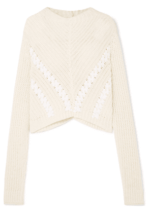3.1 Phillip Lim - Cropped Grosgrain-trimmed Ribbed Cotton Sweater - White