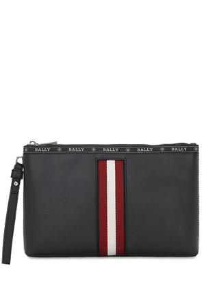 Logo Stripe Leather Pouch