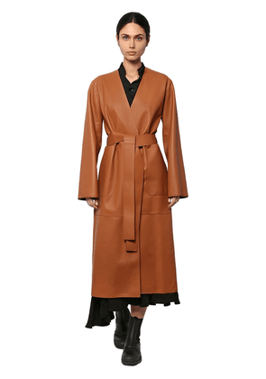 Long Leather Belted Coat