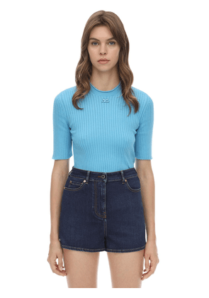 Cotton Blend Ribbed Sweater