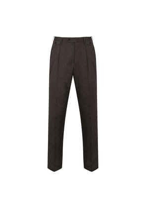 Brown Wool and Linen Unlined Pleated Sapphire Trousers