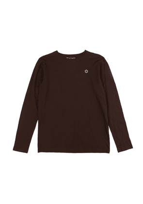 Brown Cotton 'Wyone' T-shirt with Hand-Embroidered Flower Detail