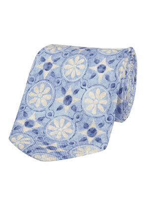 Faded-Blue Silk Cross and Floral-Print Tie