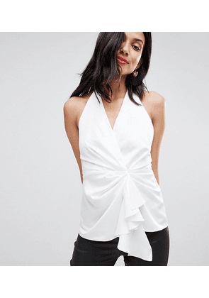 ASOS DESIGN Tall Halter Top With Origami Plunge