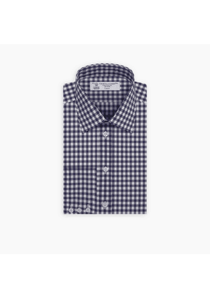 Navy Gingham Wide Check Shirt with T & A Collar and Button Cuff