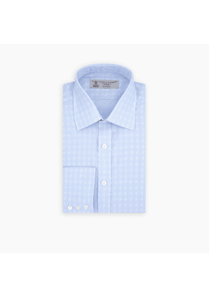 Pale Blue and White 3-Row Check Shirt with T & A Collar and 3-Button.