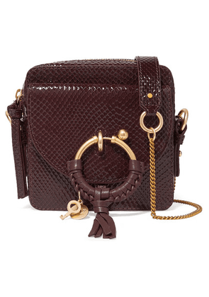 See By Chloé - Joan Square Patent Snake-effect Leather Shoulder Bag - Burgundy