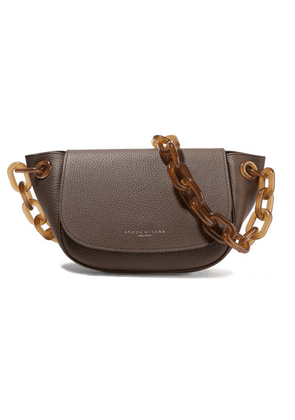 SIMON MILLER - Bend Textured-leather Shoulder Bag - Dark brown
