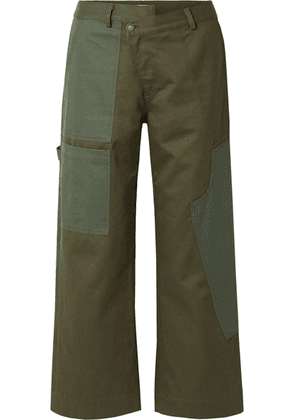 Monse - Cotton-drill Wide-leg Pants - Army green