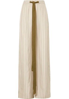 Esteban Cortázar - Barre Vistatin Striped Twill Wide-leg Pants - Sand