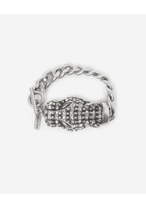 The Kooples - silver bracelet with chain and leopard head - silver