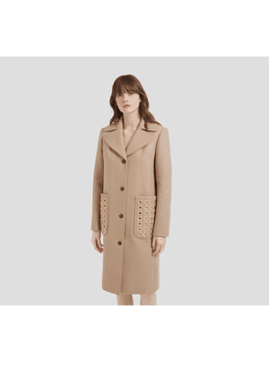 Mulberry Claire Coat in Cashmere Beige Wool Felt