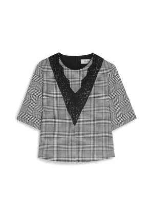 Mulberry Kaylee Blouse in White Houndstooth Light Wool Check