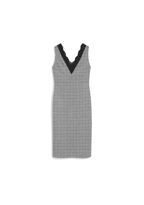 Mulberry Chelsey Dress in White Houndstooth Light Wool Check