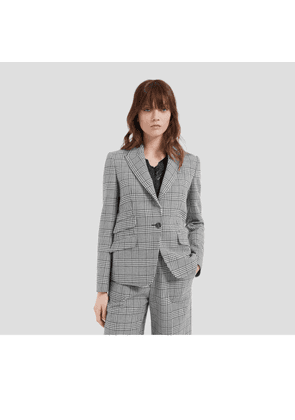 Mulberry Felicity Jacket in White Houndstooth Light Wool Check