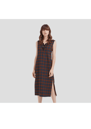 Mulberry Chelsey Dress in Brown Woven Wool Check