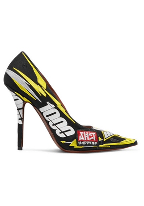 Vetements - Race Printed Embroidered Canvas Pumps - Yellow