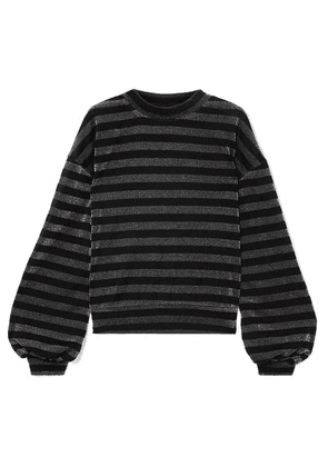RtA - Magnus Striped Lurex Sweatshirt - Black