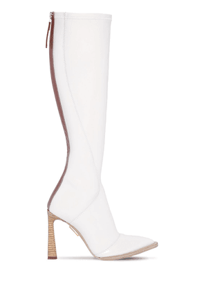 105mm Faux Patent Leather Tall Boots