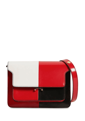 Medium Trunk Color Block Leather Bag