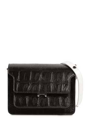 Trunk Croc Embossed Bicolor Leather Bag