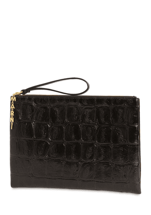 Medium Artz Croc Embossed Leather Clutch