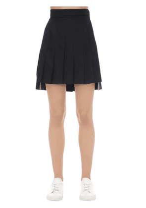 Super High Waist Pleated Wool Mini Skirt