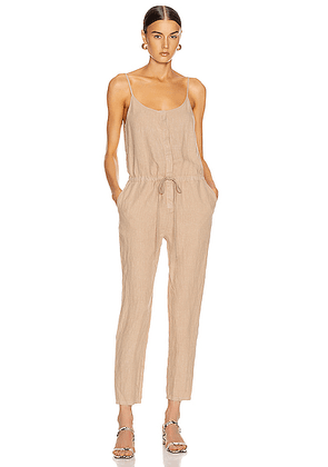 Enza Costa Strappy Jumpsuit in Khaki - Neutral. Size M (also in 0 / XS,1 / S,2 / M,3 / L,S).