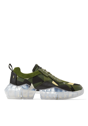 DIAMOND/M Army Mix Camo Print Nylon and Soft Leather Trainers with Chunky Platform