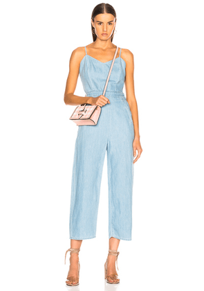MOTHER The Cut-It-Out Jumpsuit in Songbird - Blue. Size M (also in ).