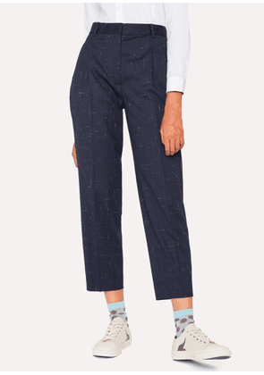 Women's Navy Flecked Slub Double-Pleat Wool-Blend Trousers